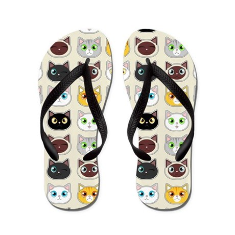 Cattitude - Cute Cat Expressions Pattern Flip Flop