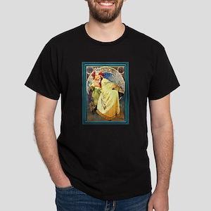 Mucha Art Nouveau Framed Dark T-Shirt