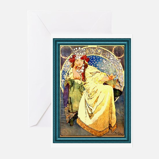 Mucha Art Nouveau Framed Greeting Cards (Package o