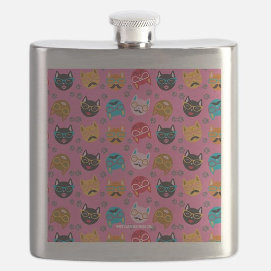 Cute Cat Mustache and Lips, Pink Flask