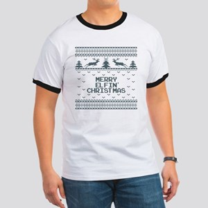 Merry Elfin Christmas Holiday Ugly Sweate Ringer T
