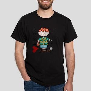 Red Hair Boy Love Fishing Dark T-Shirt