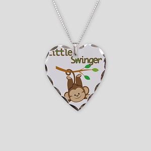 Boy Monkey Little Swinger Necklace Heart Charm