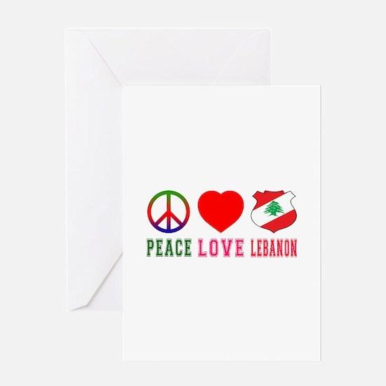 Peace Love Lebanon Greeting Card