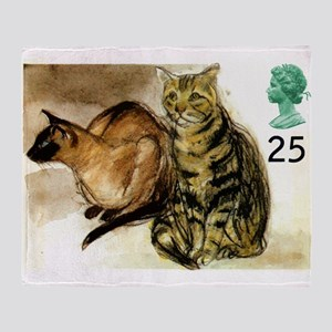 Vintage 1995 Great Britain Cats Postage Stamp Thro