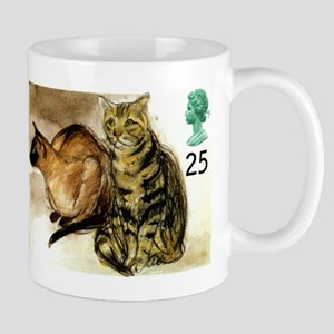 Vintage 1995 Great Britain Cats Postage Stamp Mugs