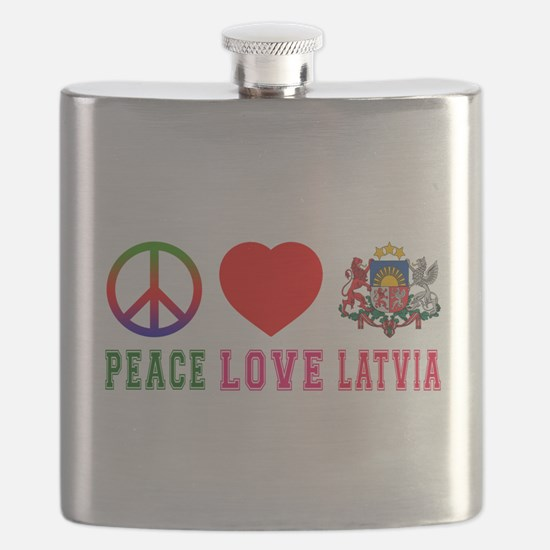 Peace Love Latvia Flask