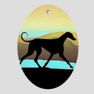 Azawakh Seaside Oval Ornament