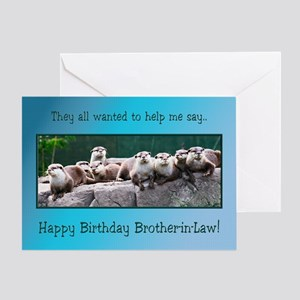 For brother-in-law, otter family birthday Greeting