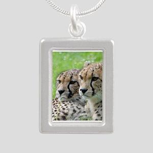 Cheetah009 Silver Portrait Necklace