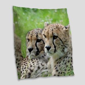 Cheetah009 Burlap Throw Pillow