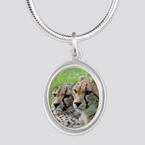 Cheetah009 Silver Oval Necklace