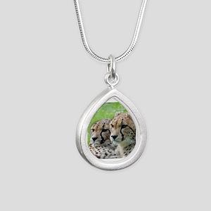 Cheetah009 Silver Teardrop Necklace
