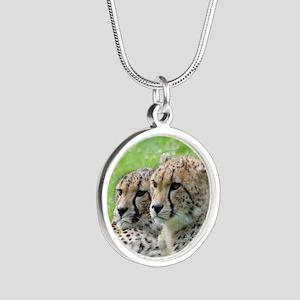 Cheetah009 Silver Round Necklace