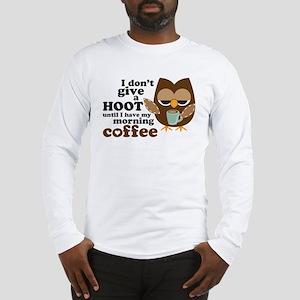 Morning Coffee Owl Long Sleeve T-Shirt