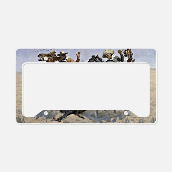 Remington cowboy art: Aiding  License Plate Holder