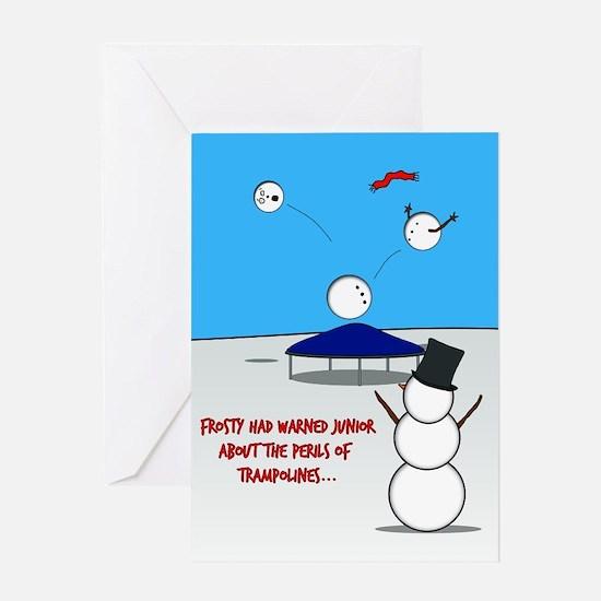 Snowman Trampoline Greeting Card