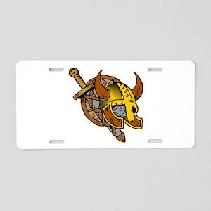 Helmet, Sword & Shield Aluminum License Plate