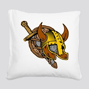 Helmet, Sword & Shield Square Canvas Pillow