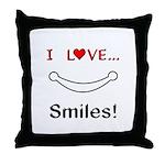 I Love Smiles Throw Pillow