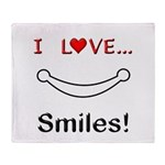 I Love Smiles Throw Blanket