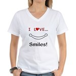 I Love Smiles Women's V-Neck T-Shirt