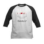 I Love Smiles Kids Baseball Jersey
