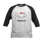 I Love Smiles Kids Baseball Jersey