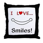 I Love Smiles Throw Pillow