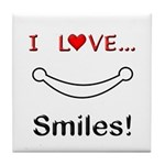 I Love Smiles Tile Coaster