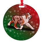 Red Merle Aussie Round Ornament