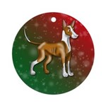 Ibizan Hound Holiday Colors Ornament (Round)