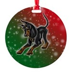 Cropped Ear Manchester Terrier Round Ornament