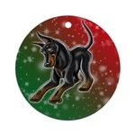 Cropped Ear Manchester Terrier Ornament (round)