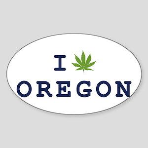 I (POT) OREGON Oval Sticker