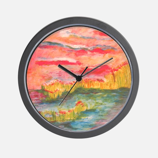 Sunset on Water Wall Clock