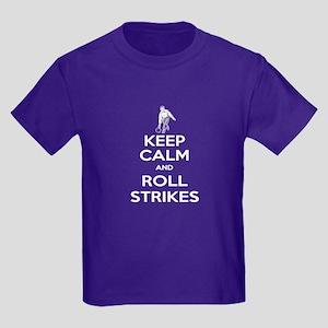 Roll Strikes Man Kids Dark T-Shirt