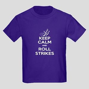 Keep Calm Roll Strikes Kids Dark T-Shirt