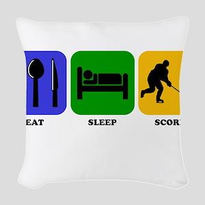 Eat Sleep Score Woven Throw Pillow