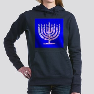 Blue Menorah Hanukkah 47 Designer Hooded Sweatshir