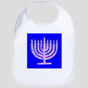 Blue Menorah Hanukkah 47 Designer Bib