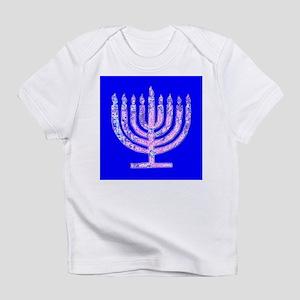 Blue Menorah Hanukkah 47 Designer Infant T-Shirt