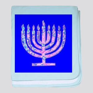 Blue Menorah Hanukkah 47 Designer baby blanket