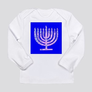 Blue Menorah Hanukkah 47 Designer Long Sleeve T-Sh