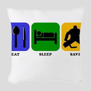 Eat Sleep Save Woven Throw Pillow