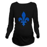 FleurLysQc1PMS293 Long Sleeve Maternity T-Shir