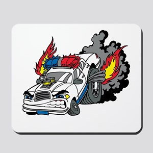 Cop Car Burning Rubber Mousepad