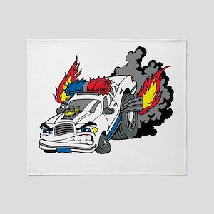 Cop Car Burning Rubber Throw Blanket