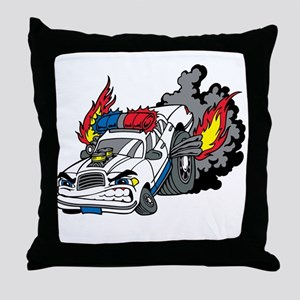 Cop Car Burning Rubber Throw Pillow