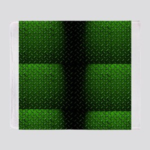 Green Diamond Plate Design Throw Blanket